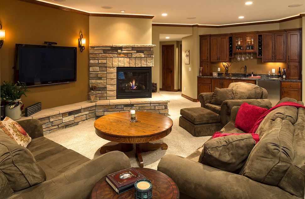 traditional-basement-living-room