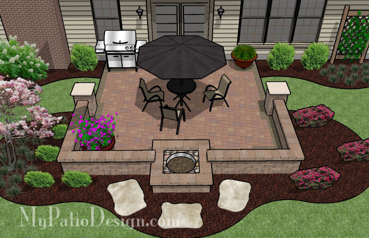 Patio Wall Design side of house mulch minneapolis Patio Design With Fire Pit