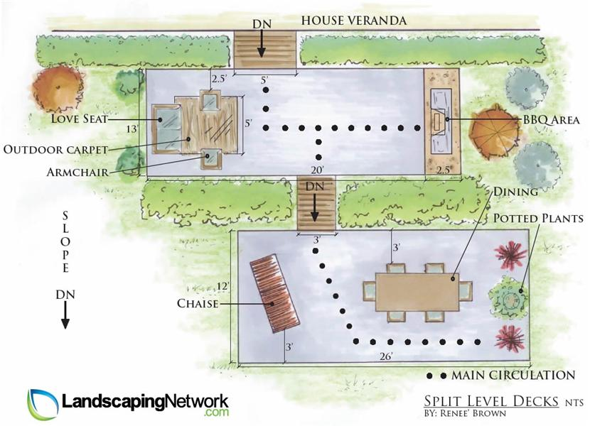 Beautiful Split Level Decks Plan