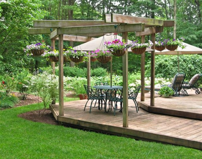 Wooden Garden Patio With Gazebo