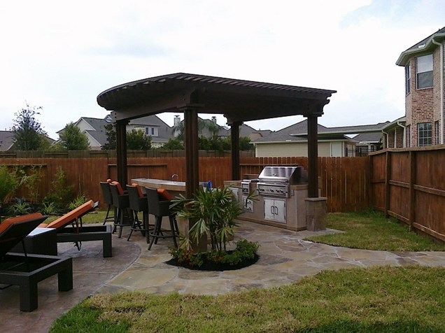 Outdoor kitchen in the backyard