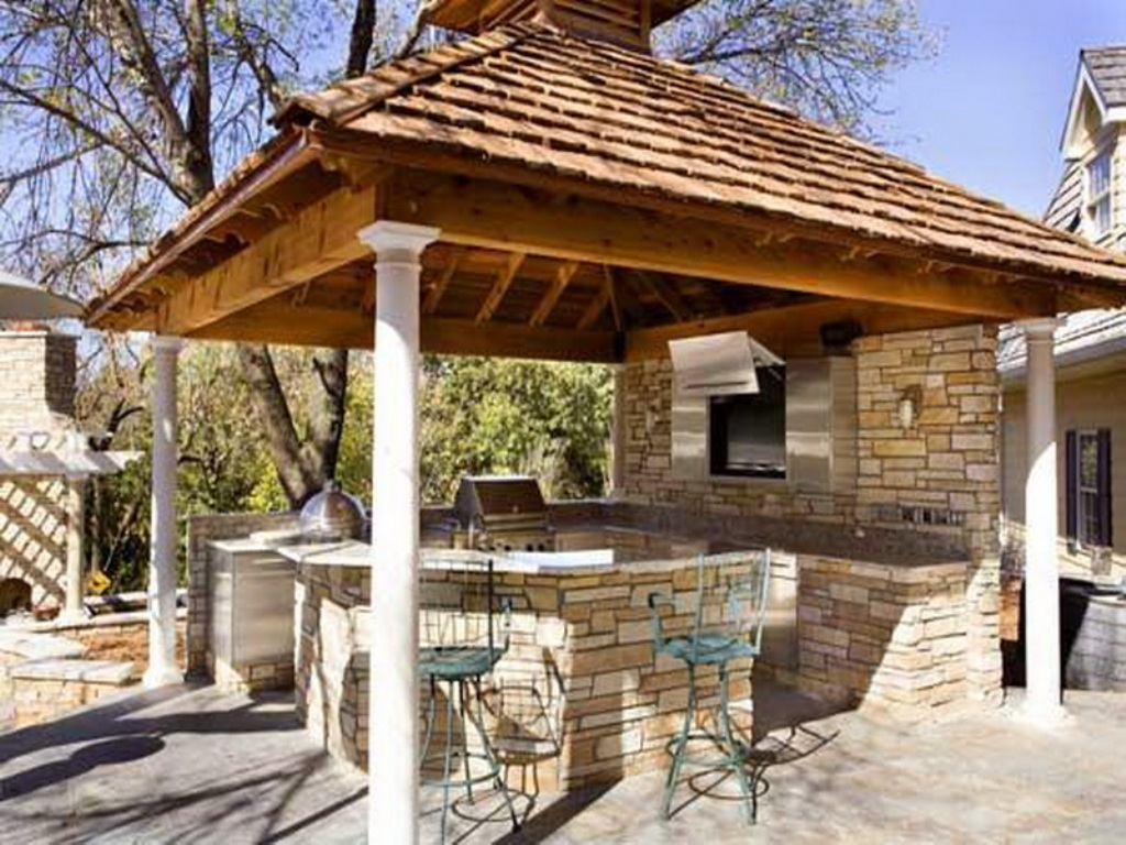 rustic outdoor kitchen with gazebo via shower design ideas