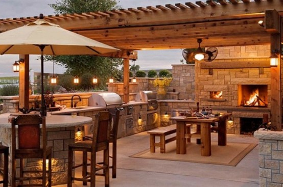 big kitchen with wood pergola - Outdoor Kitchen Designs Photos