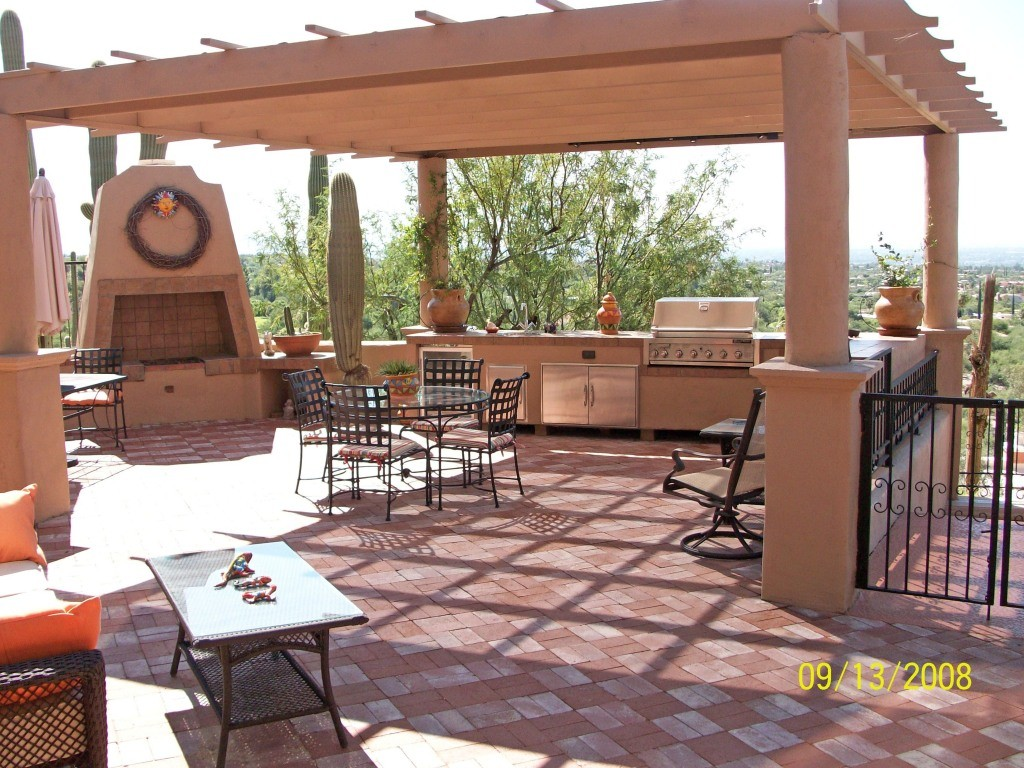 Outdoor Kitchen With Concrete Pergola