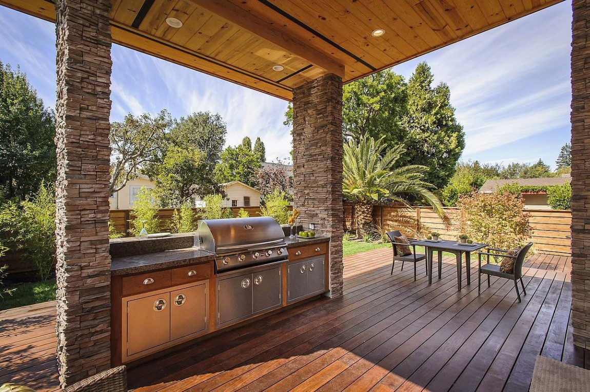 Outdoor kitchen on wooden deck