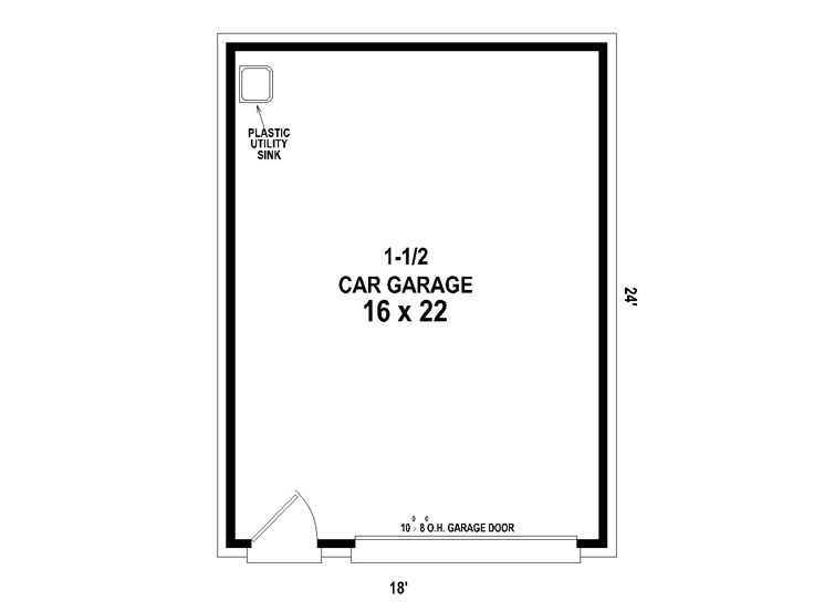1-car gable roof garage - plan