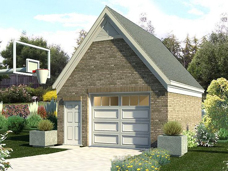 1-car gable roof garage