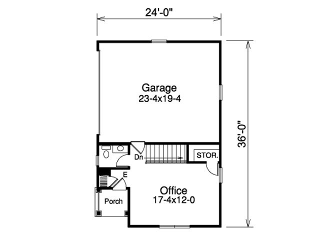 2-car garage with side entry - plan