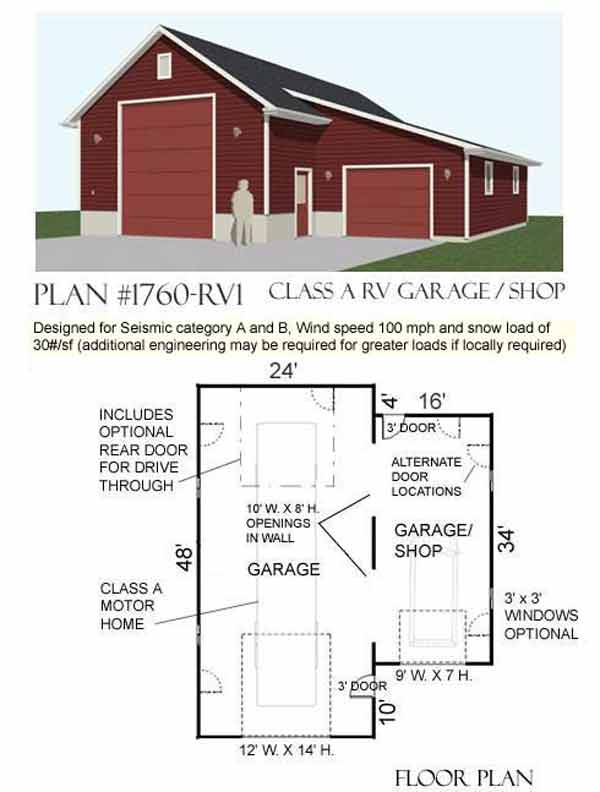 Top 15 garage designs and diy ideas plus their costs in for Rv storage building plans