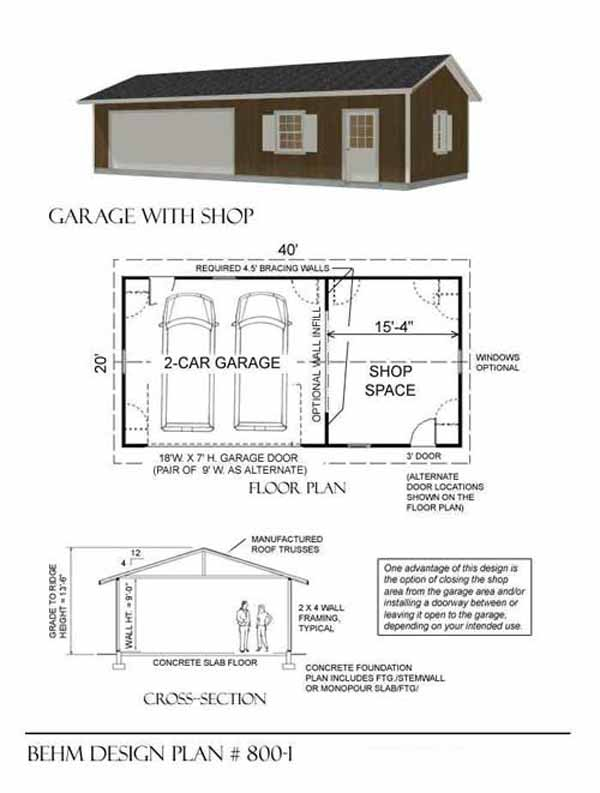 Top 15 garage designs and diy ideas plus their costs in for Two car garage with workshop plans