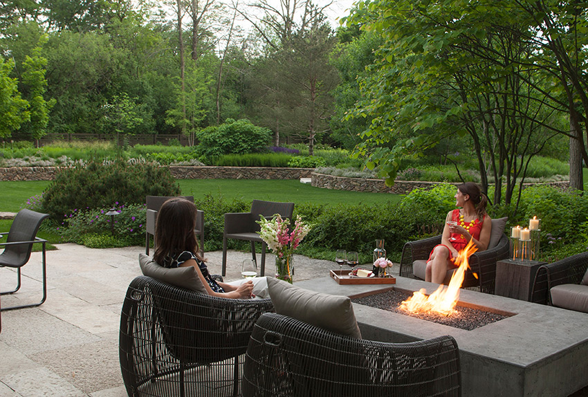 Landscape design with fire pit
